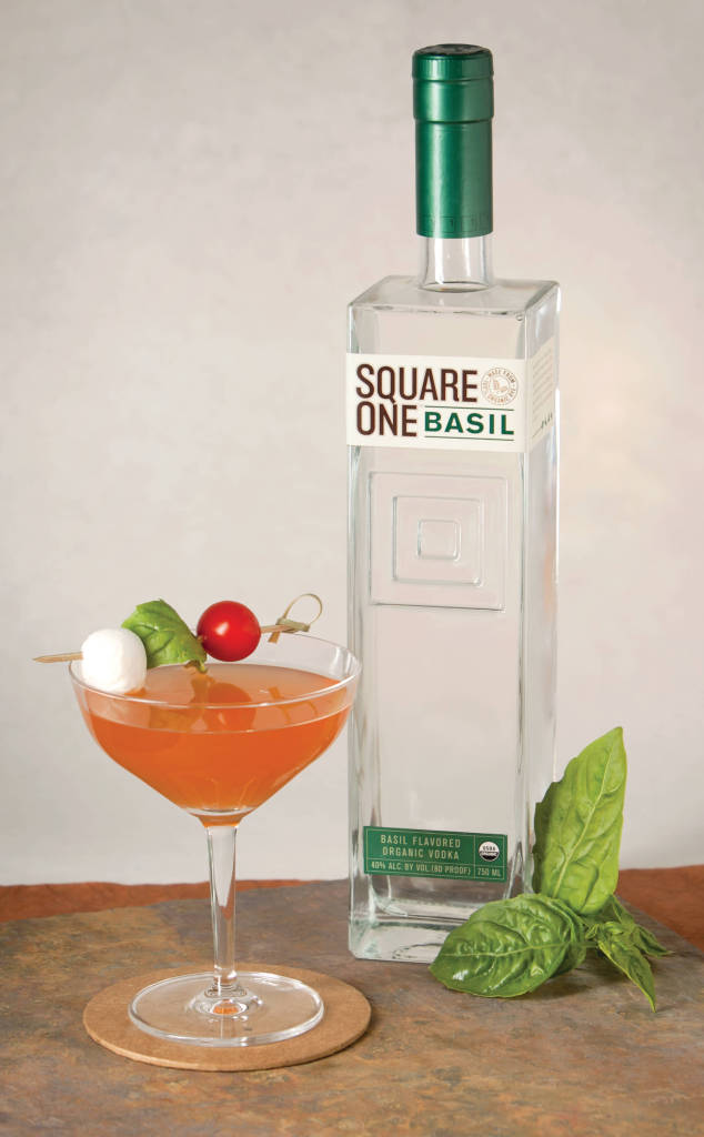 Square One Basil Organic Vodka is great in a Caprese Cocktail. Photo credit Square One Organic Spirits.